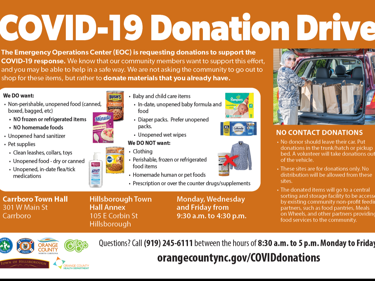 DONATIONS graphic for COVID relief