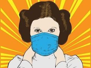 Drawing of Princess Leia wearing a mask