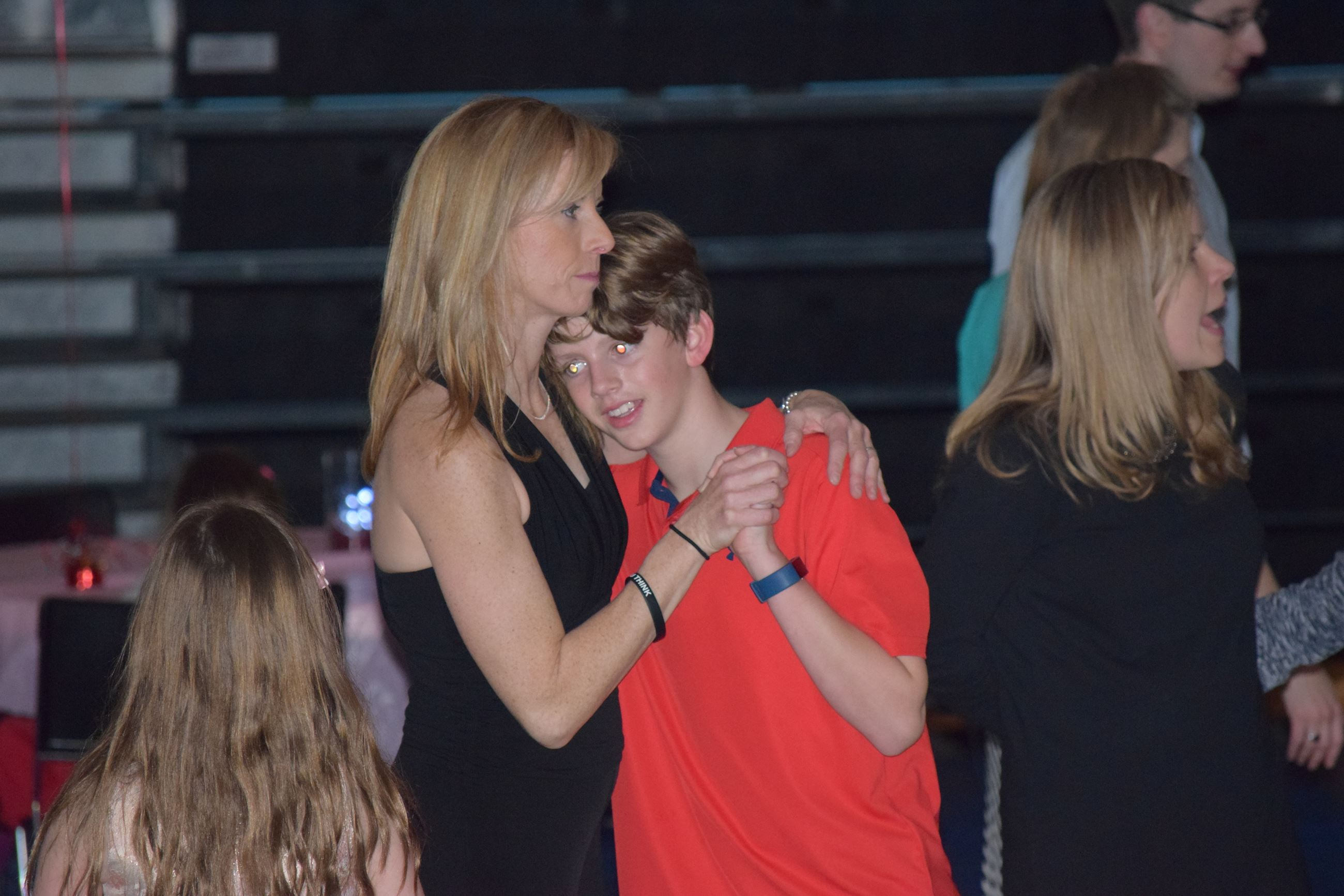 Mother and son dancing at Valentines Dance