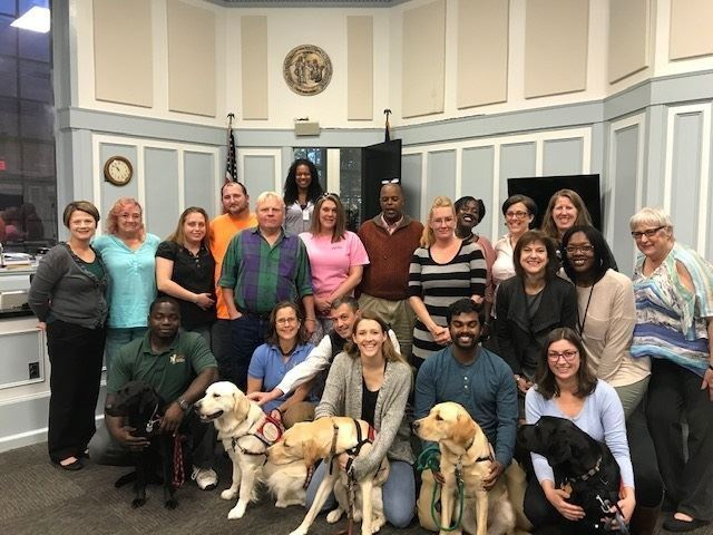Photo of dogs and staff at courthouse