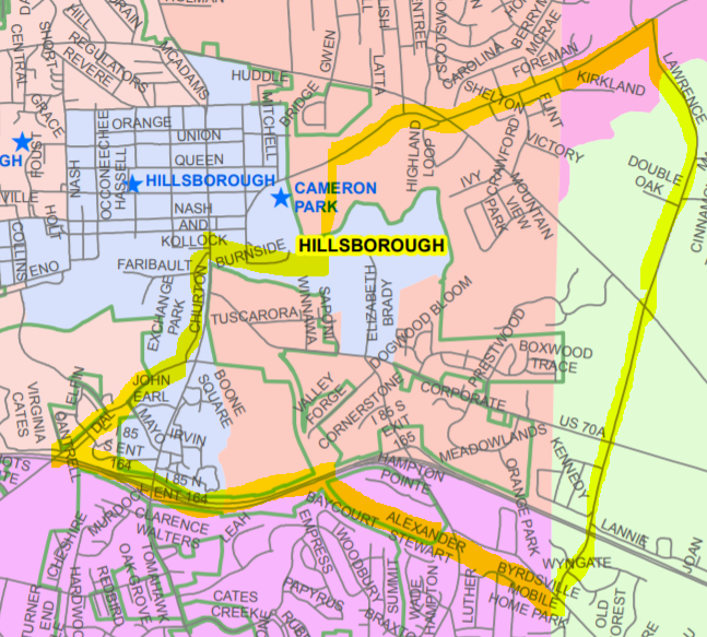 Map of proposed new precinct east of Hillsborough