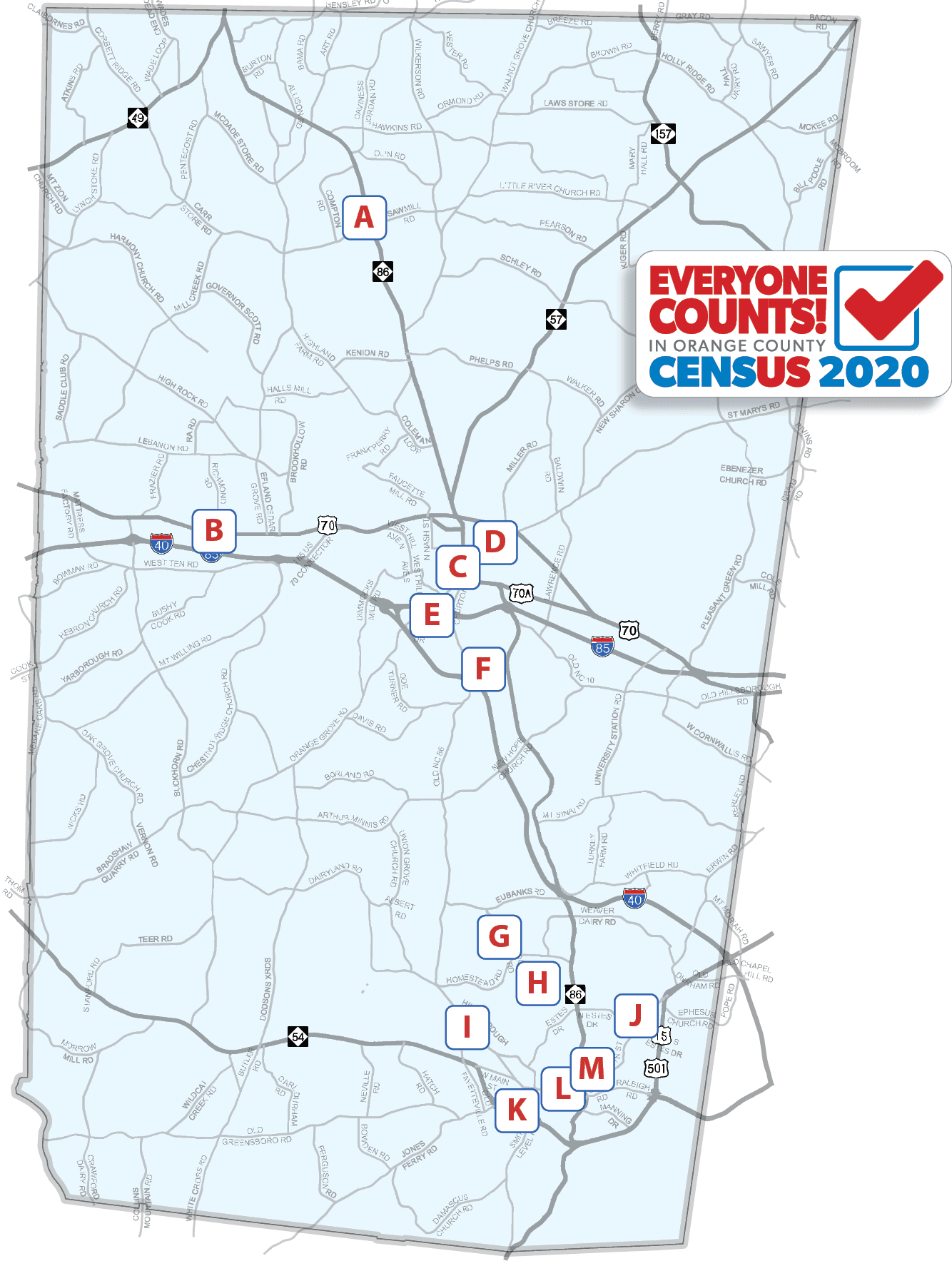 Graphic of Be Counted Sites locations