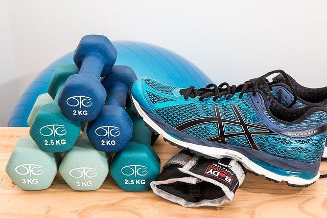dumbbells, exercise balls, bands and tennis shoes.