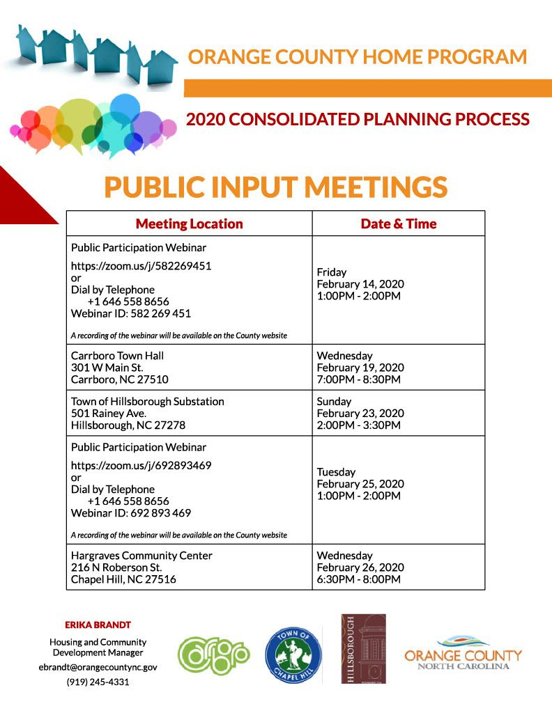 Consolidated Plan Public Input Meetings